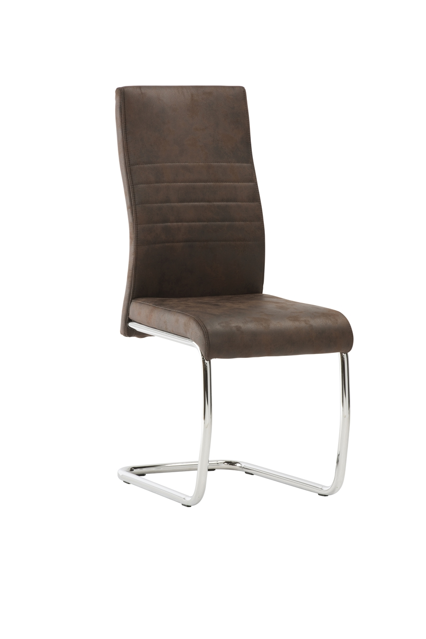 'Calgary Brown Leather Dining Chair