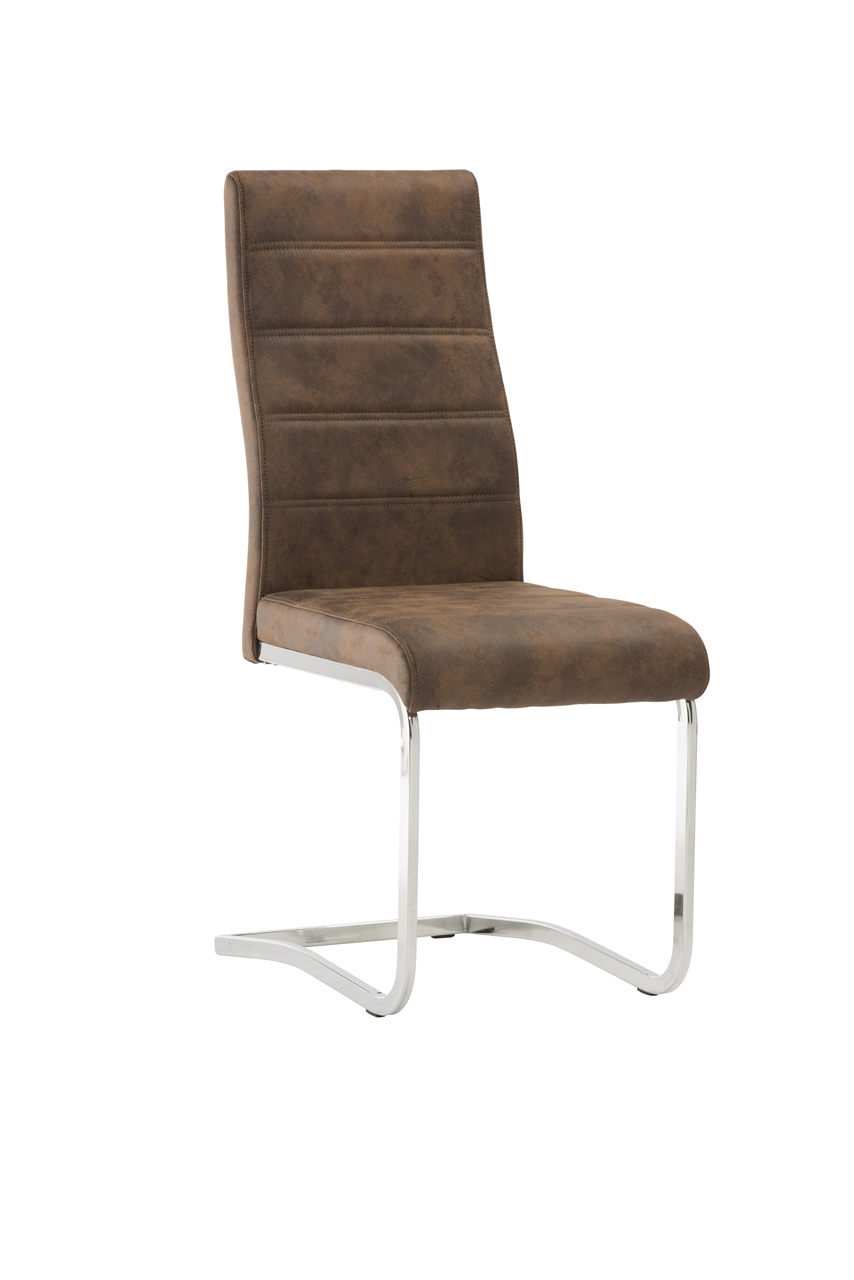 'Naples Brown Leather Dining Chair