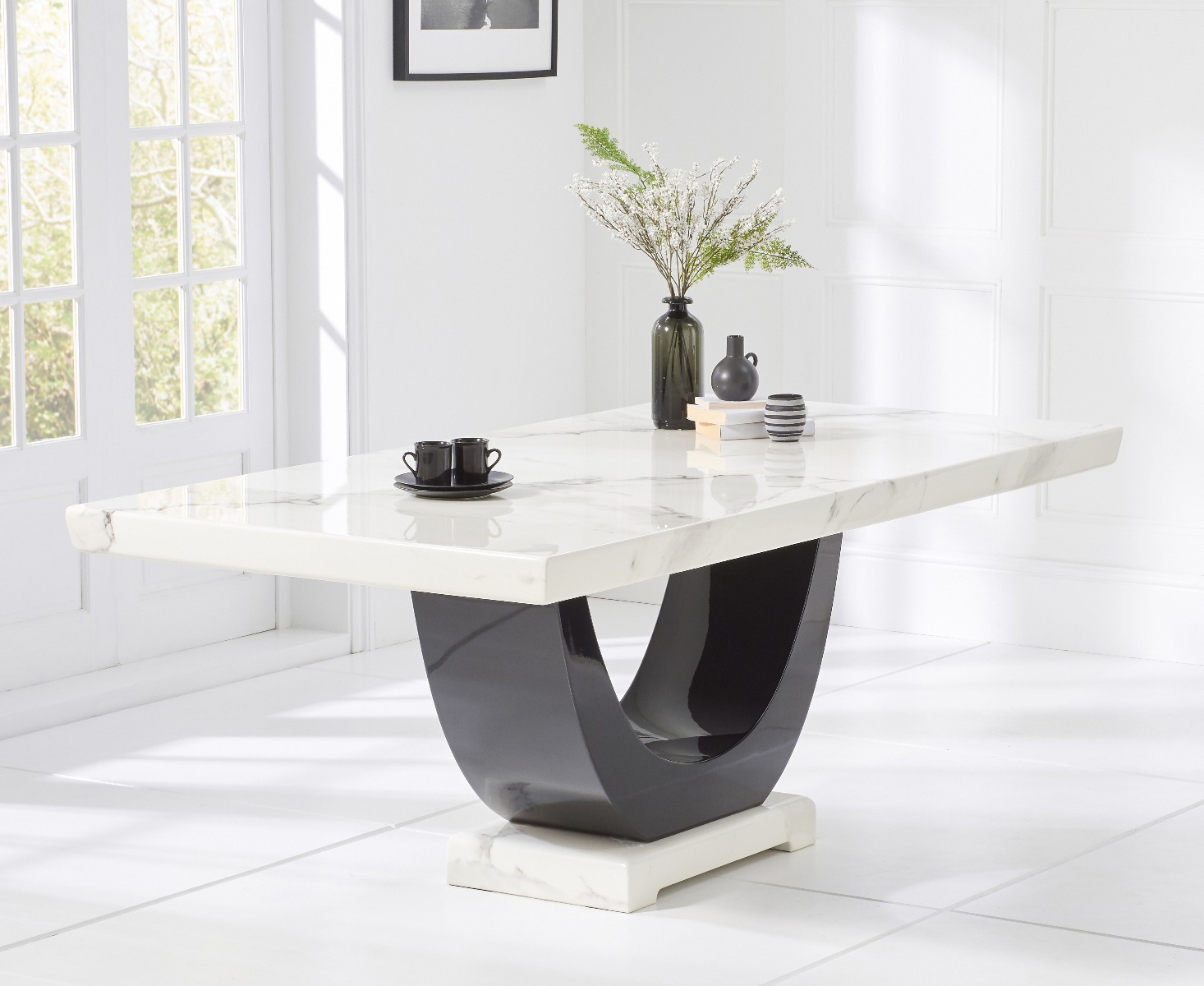 Rivilino 200cm White Marble Rect. Dining Table