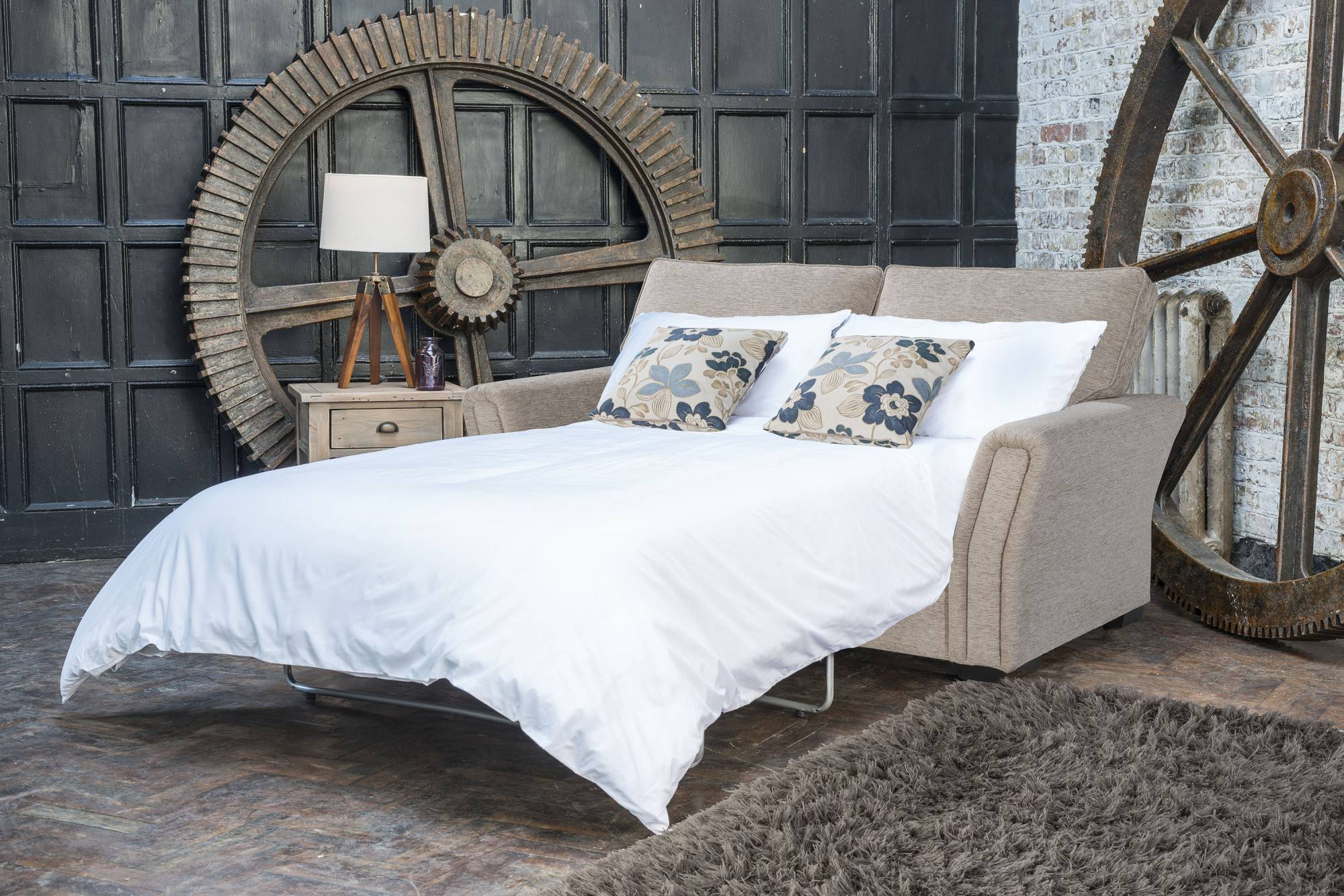 Alstons Venice 2 Seater Fabric Sofa Bed with Mattress