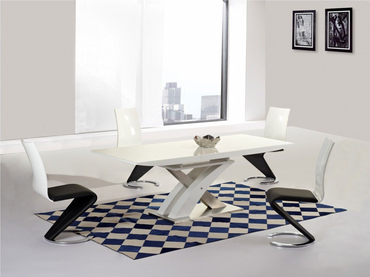 Mayfair XO White High Gloss Big Extending Dining Table and