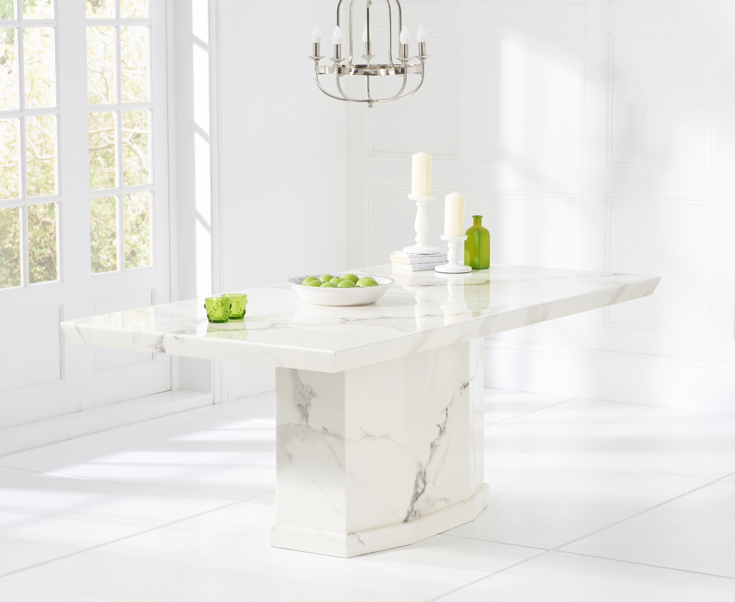 Como 200cm White Marble Rect. Dining Table