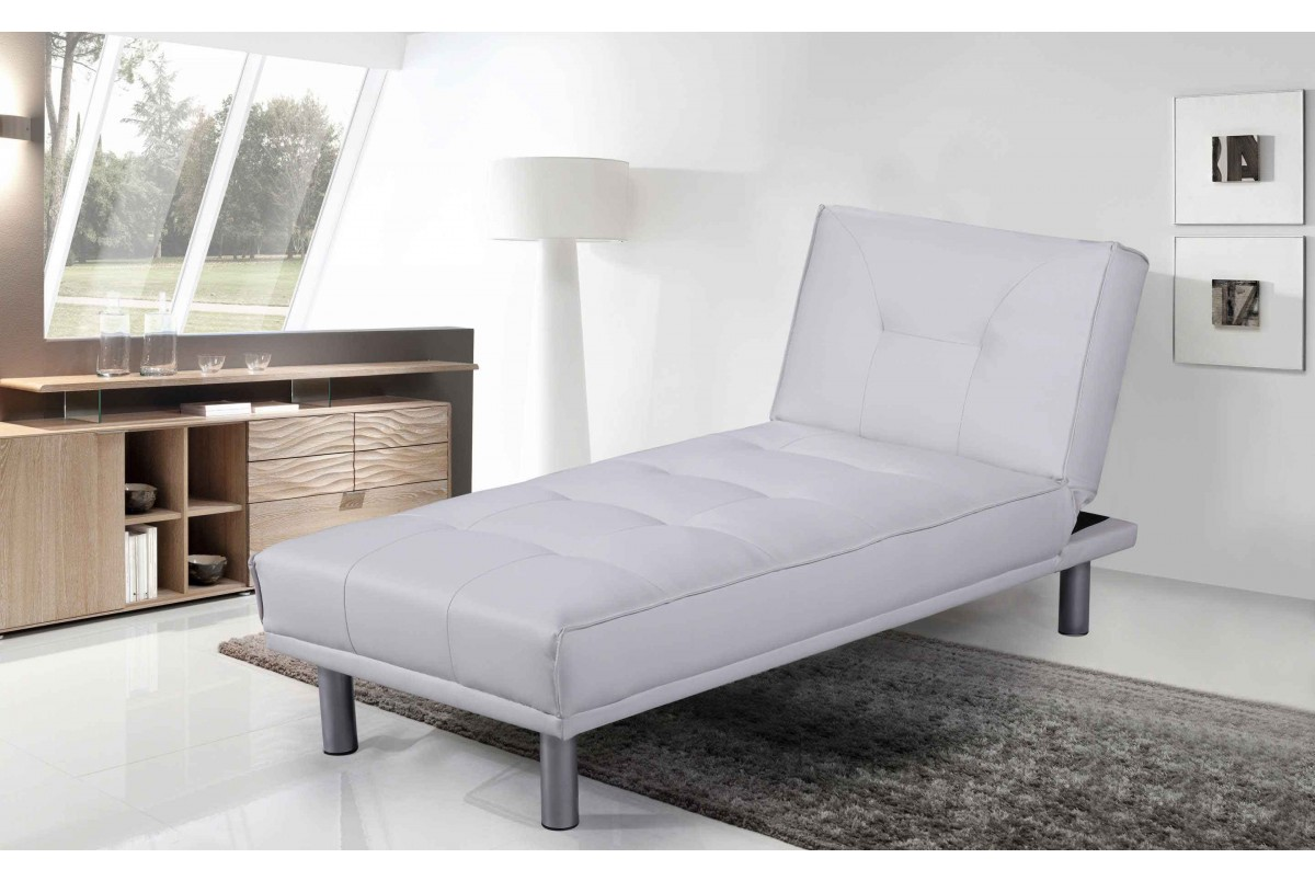 Photo of Miami white leather chaise longue & bed