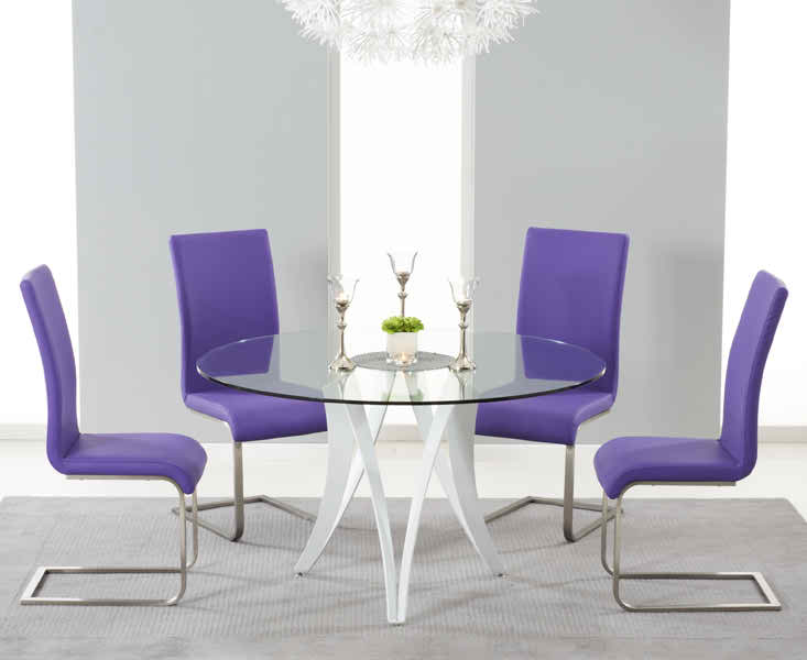 Bellevue 130cm Round Glass Dining Table With 4 Malibu Purple Leather Chairs