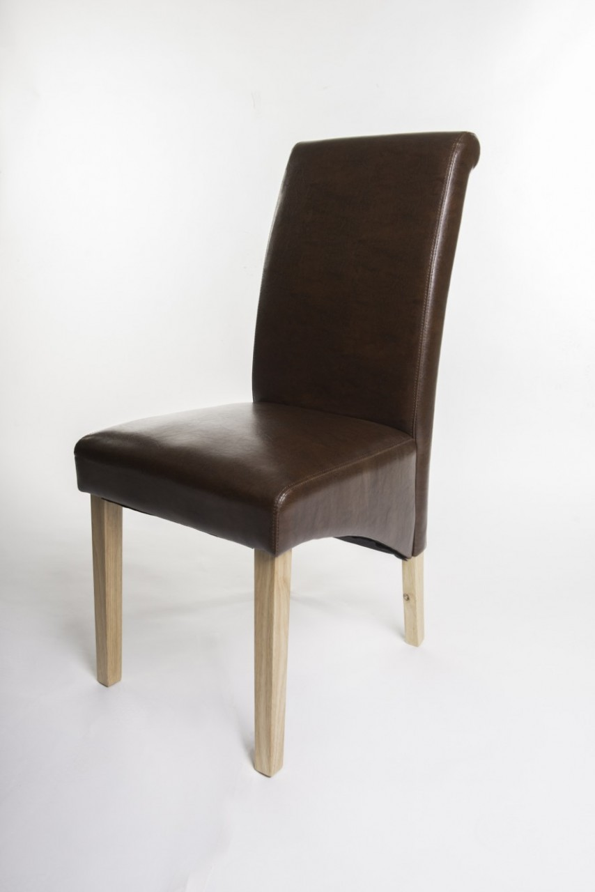 'Henley Antique Brown Faux Leather Dining Chair
