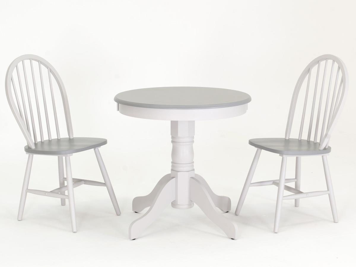 Theo Kinver Round Grey 2 Tone Dining Table With 2 Windsor Ch