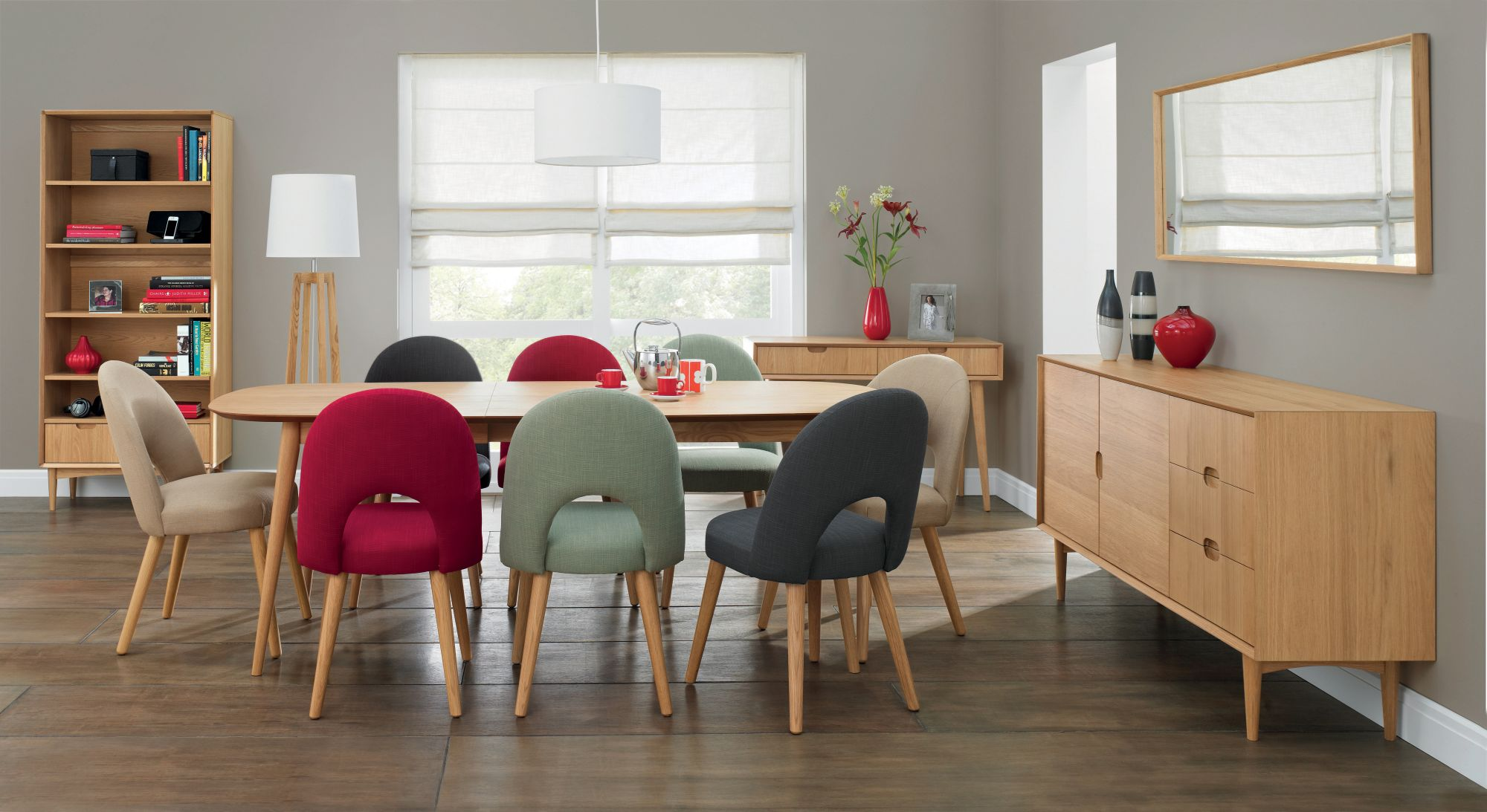Bentley Designs Oslo Oak 6-8 Dining Table & 8 Red Fabric Chairs