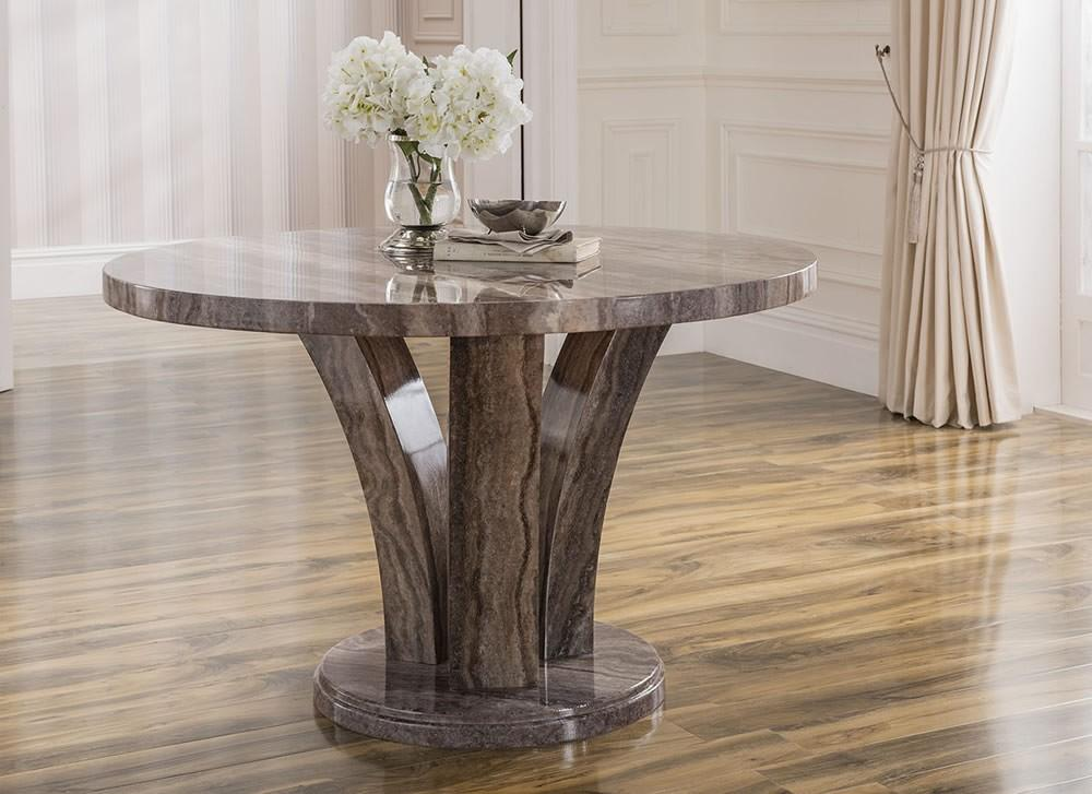 Amalfi 125cm Round Pearl Grey Marble Dining Table
