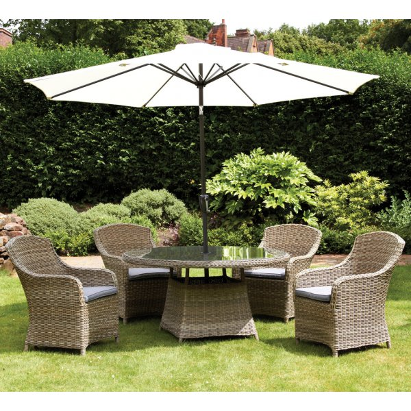 Royalcraft Wentworth 4 Seat Rattan Round Dining Set With