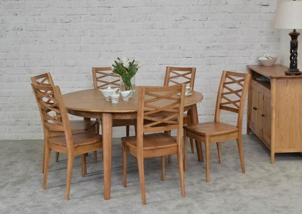 Brondby 150cm Oak Round Dining Table With 6 Brondby Oak Chairs