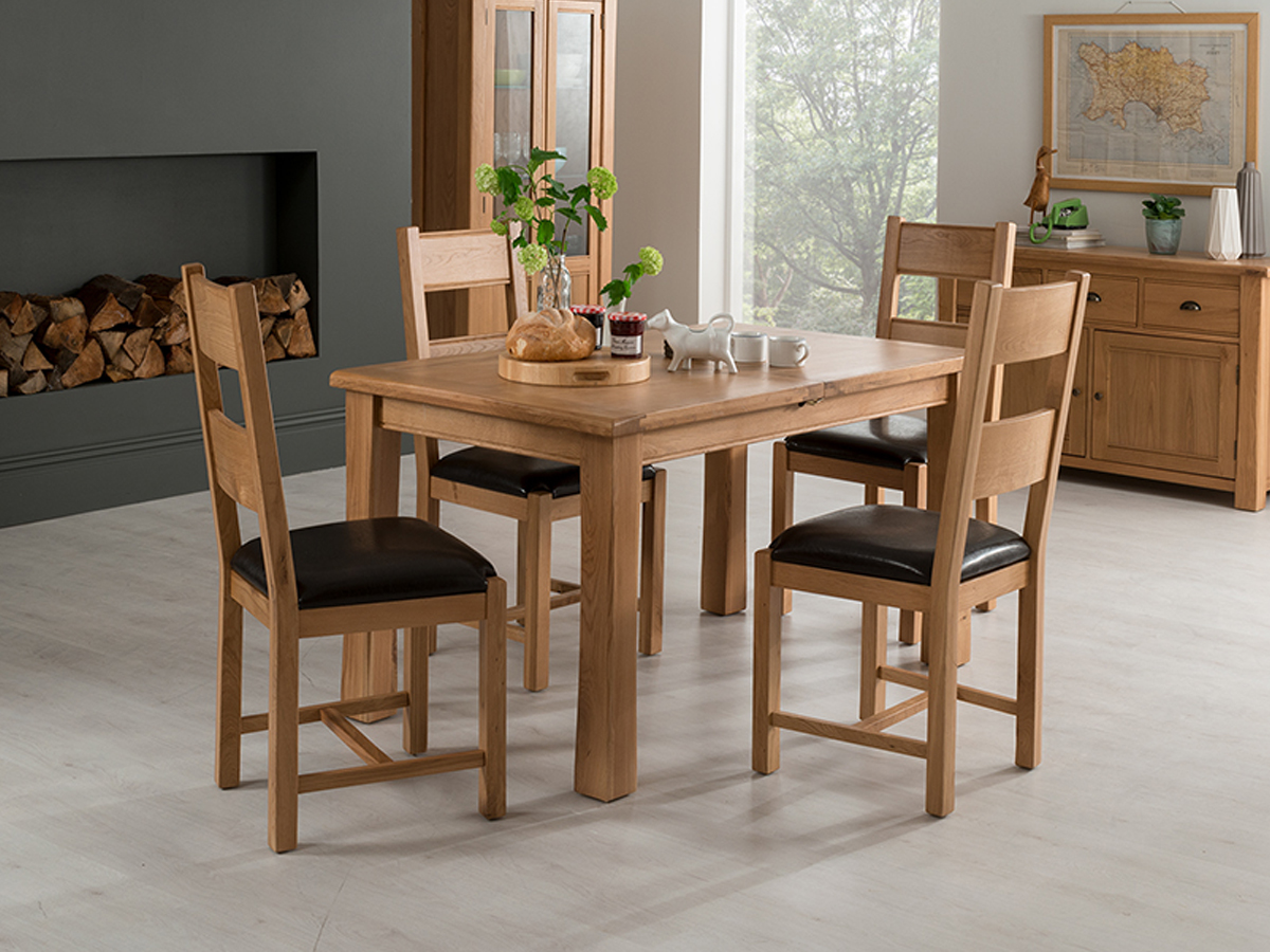 Breeze 120/165cm Ext. Oak Dining Table With 4 Breeze Solid