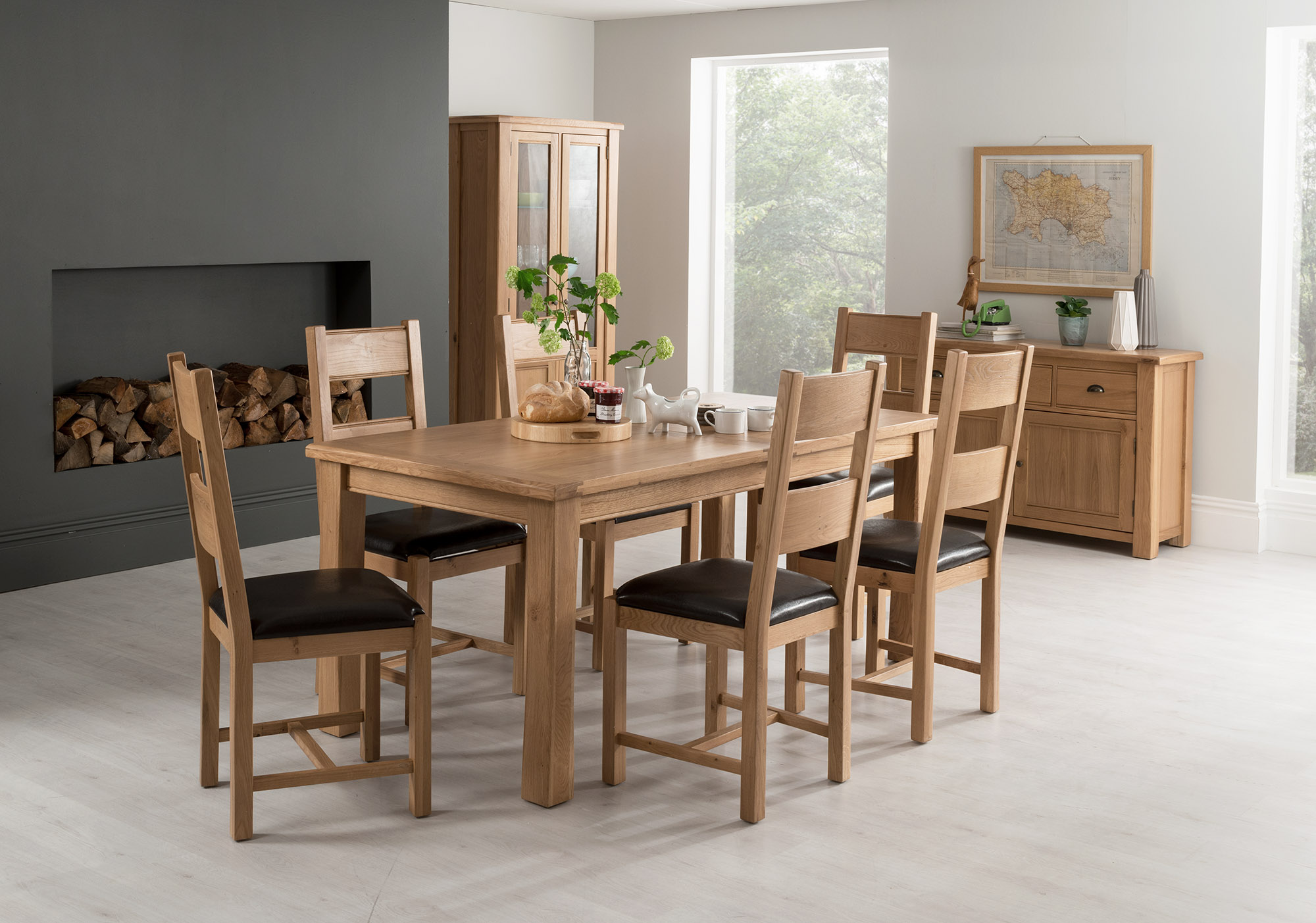 Breeze 180/220cm Ext. Oval Oak Dining Table With 6 Breeze Brown Chairs
