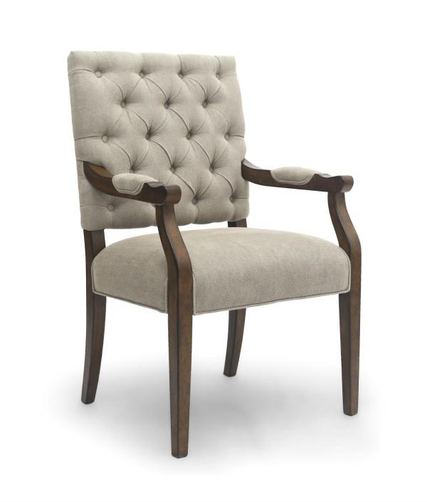 Shankar Portland Natural Fabric Carver Dining Chair