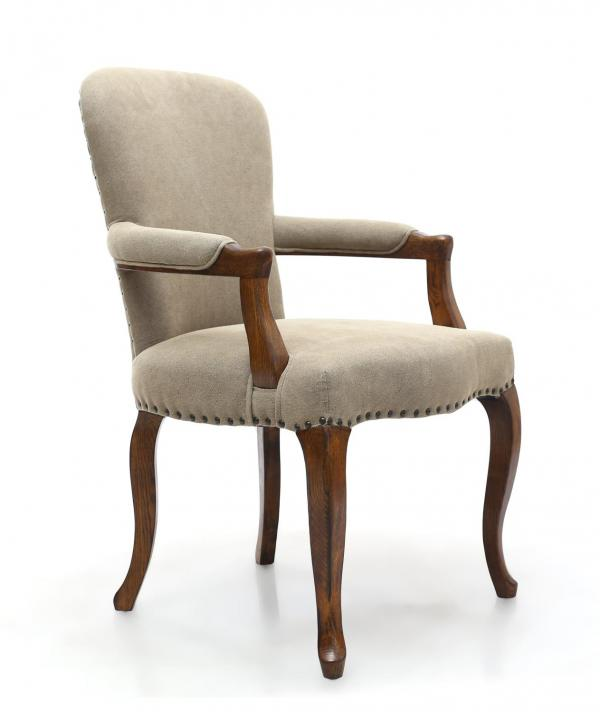 Shankar Sterling Natural Fabric Carver Dining Chair