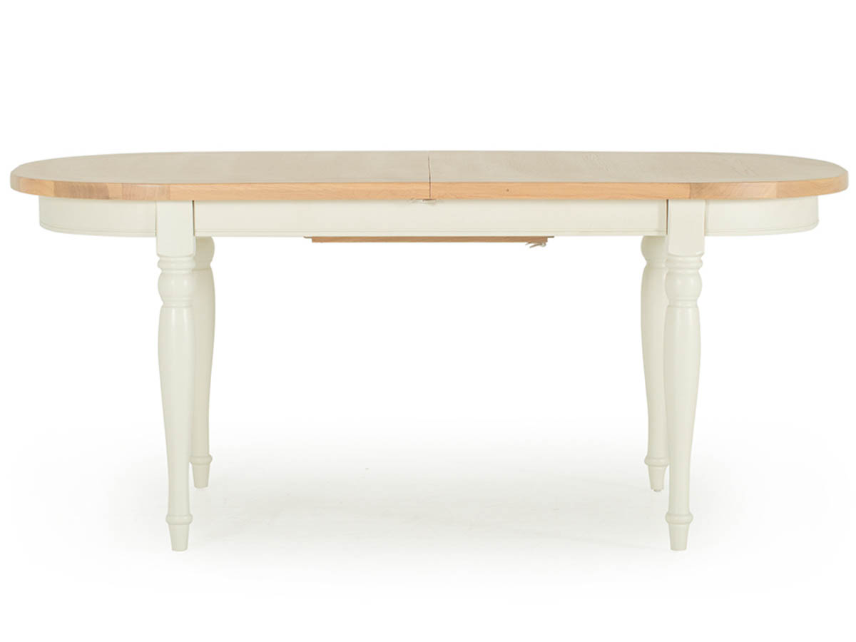 Chalk Two Tone Solid Oak Oval Extending Dining Table