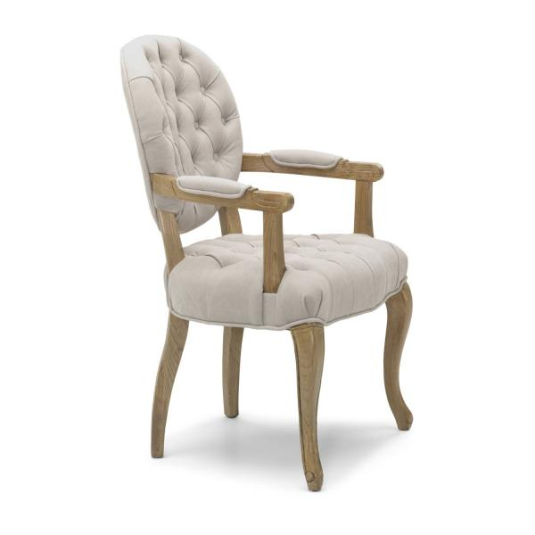 Shankar Chambord Natural Carver Fabric Dining Chair with Walnut Legs