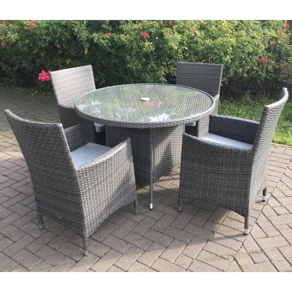 Royalcraft Marlow 4 Seater Round Rattan Dining Set With