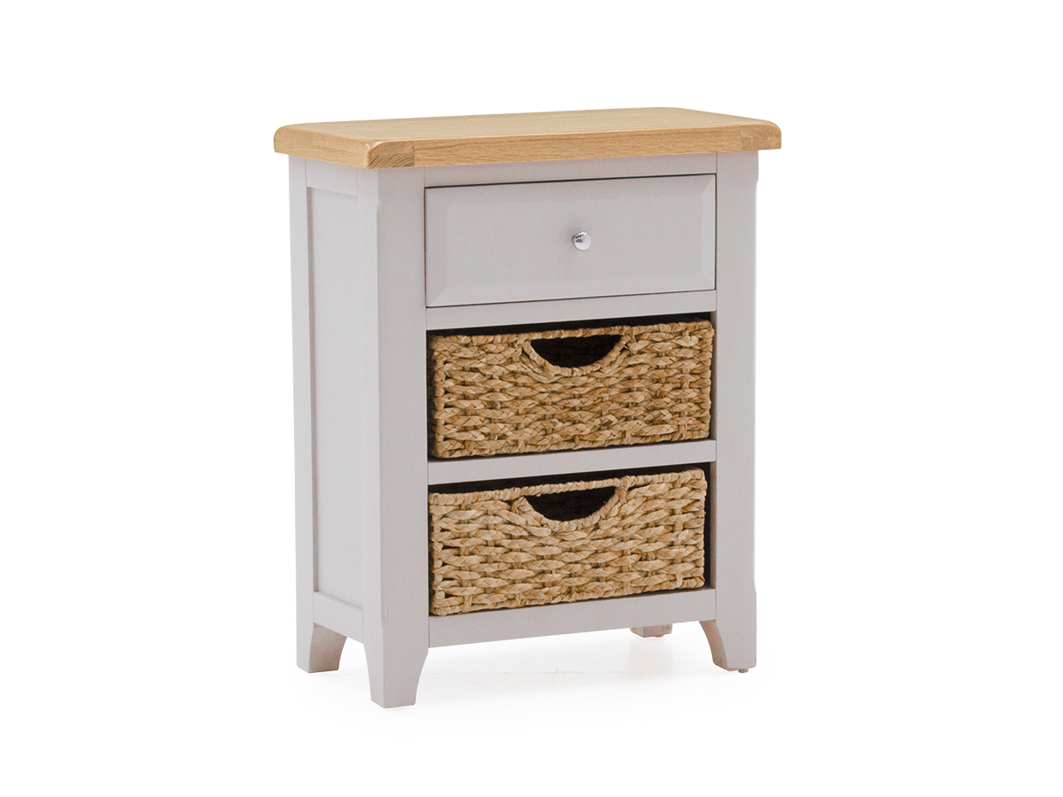 Clemence Two Tone Oak Small Console Table With 2 Baskets