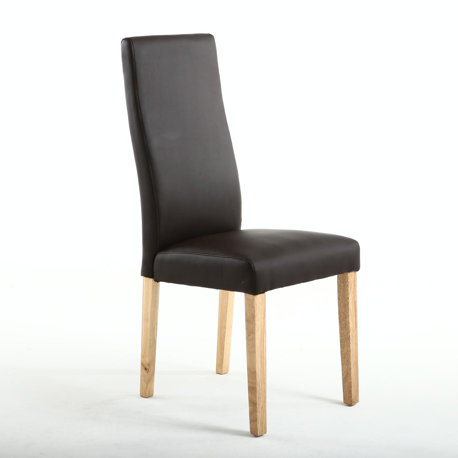 'Shankar Brown Matt Leather Dining Chair With Natural Legs