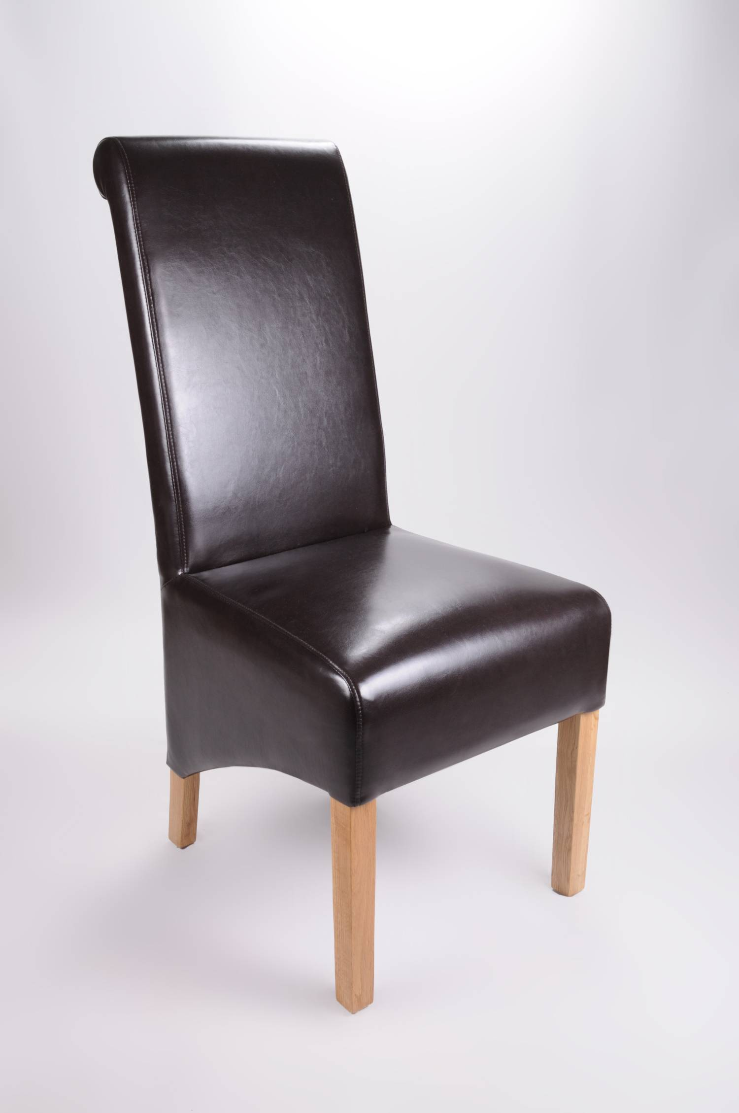 'Shankar Brown Leather Match Roll Back Dining Chair