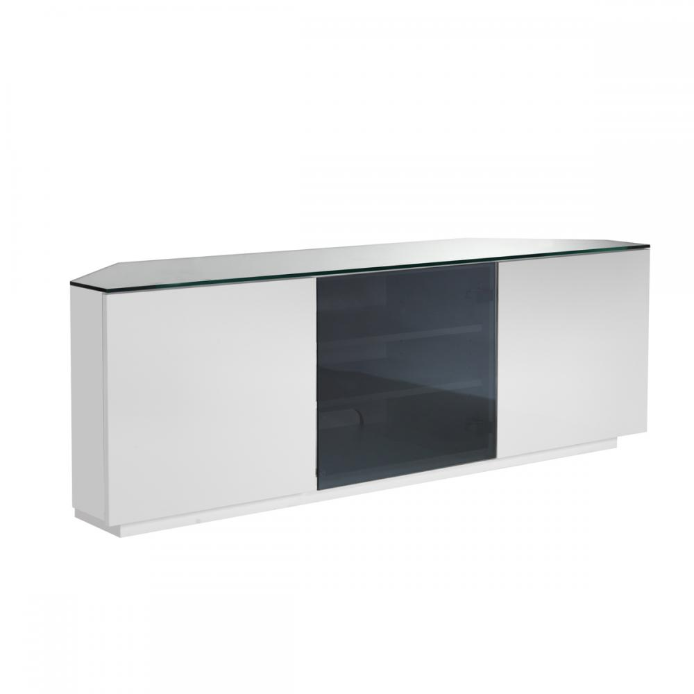 albans glass lcd tv stand in white with high gloss and 3 dra