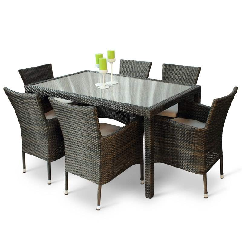 Rectangular 6 Seater Rattan Dining Set With 6 Armchairs And Inlaid Glass