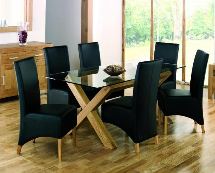 Bentley Designs Lyon Oak Glass Top Dining Table & 4 Wing Back Black Chairs