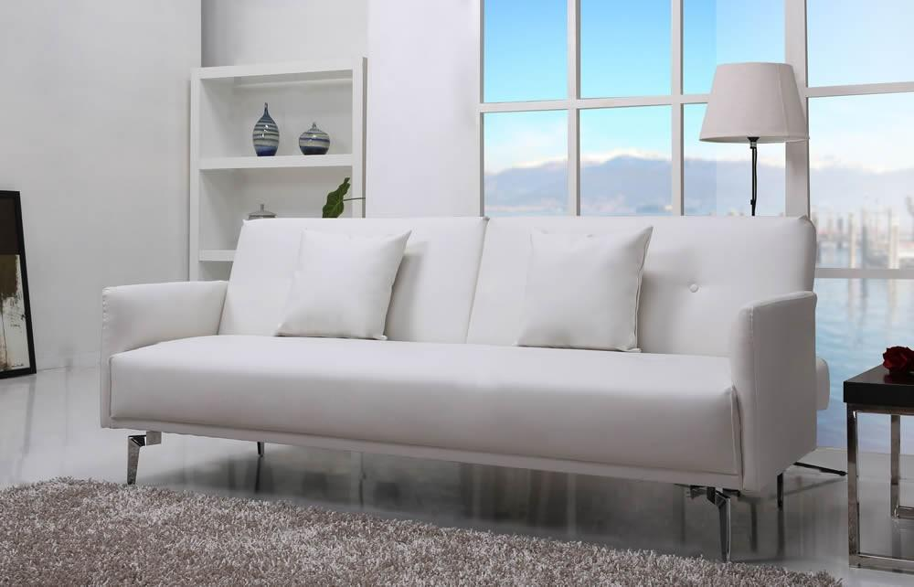 Sven Luxurious White Faux Leather Sofa Bed