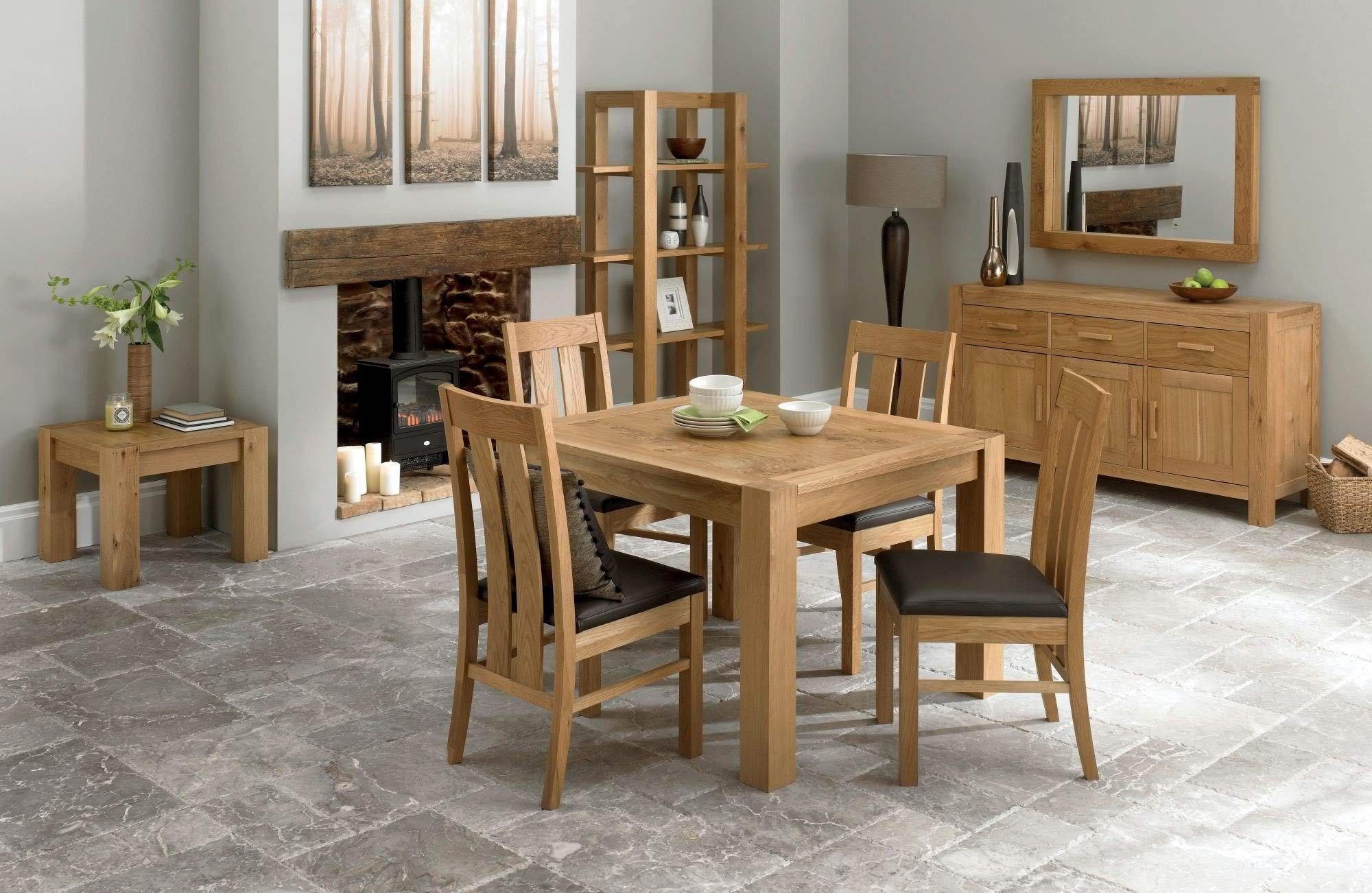 Bentley Designs Lyon Oak 110cm End Ext. Dining Table and 4 S