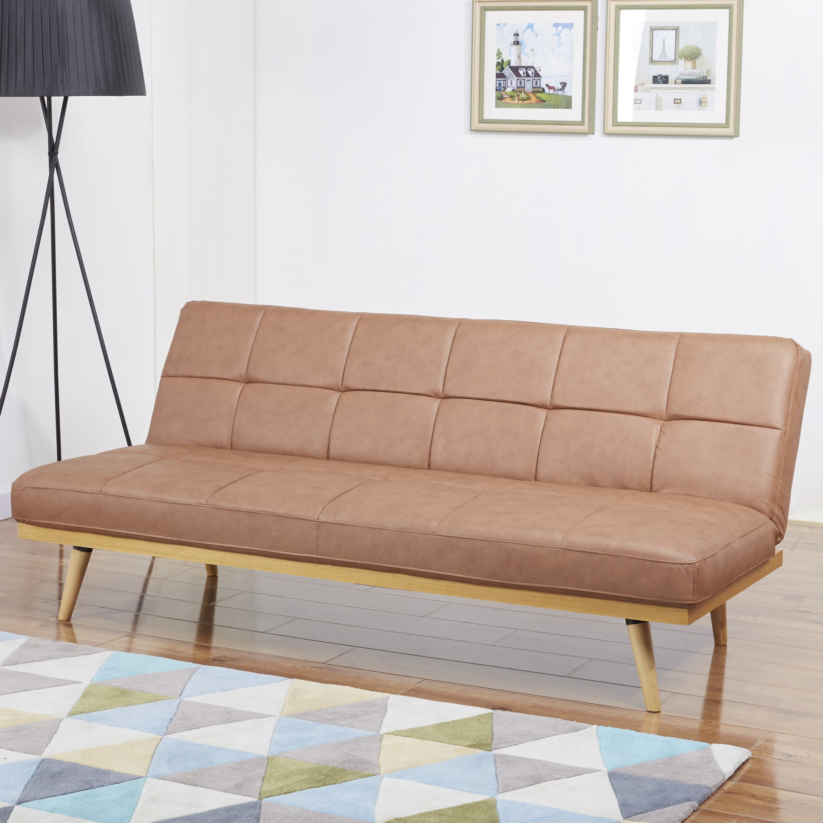 Malo Vintage Brown Leather Sofa Bed