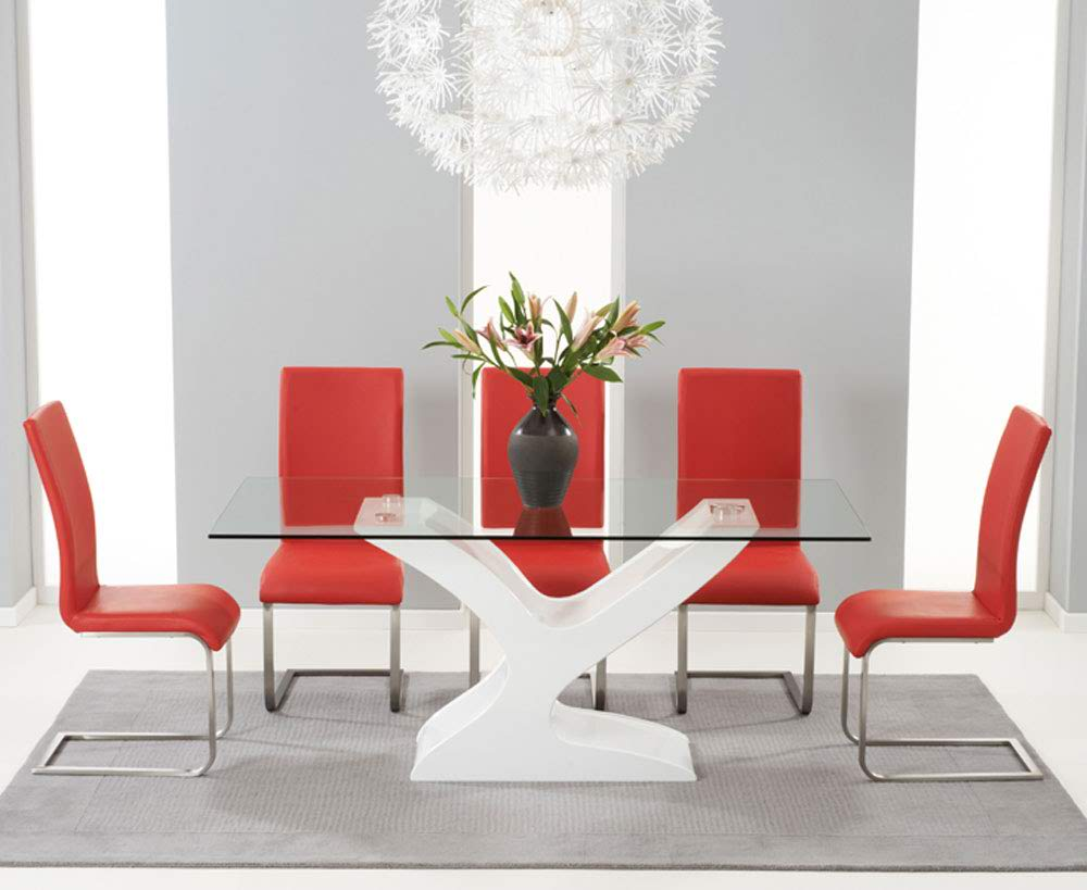 Natalie 180cm Clear Glass Dining Table With 6 Malibu Red Lea