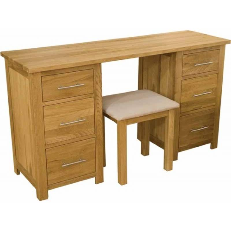 Photo of Opus oak twin pedestal dressing table and stool