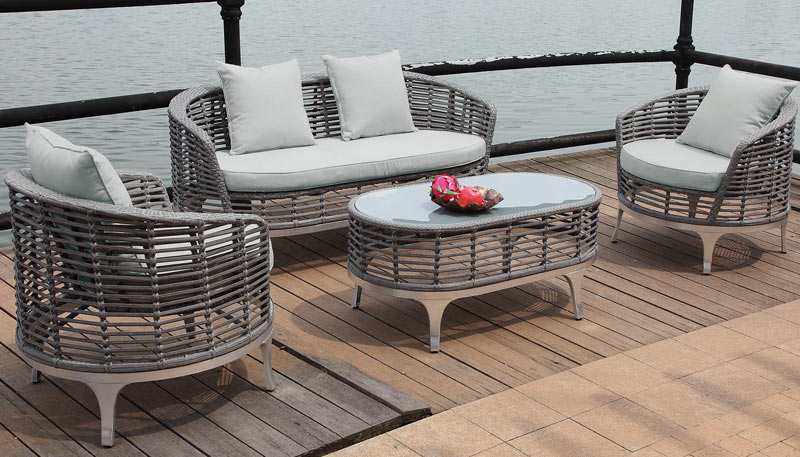 Oasis Curved 4 Seat Rattan Sofa Set With Light Grey