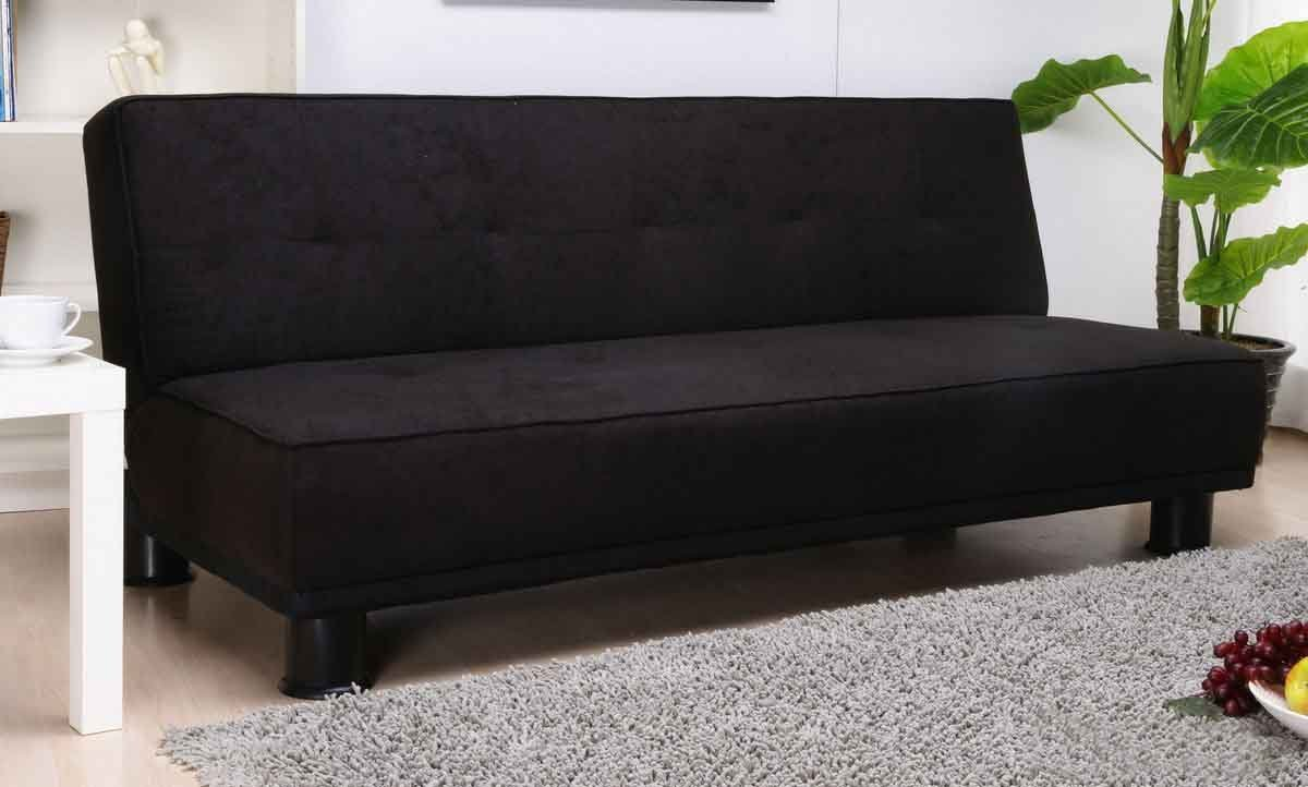 Ismi Black Suede Futon Sofa Bed