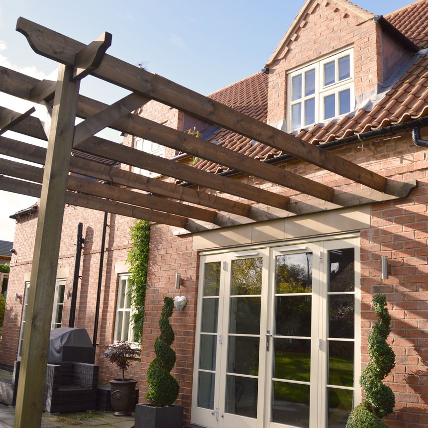 Rutland Rustic Brown 2.4m X 2.4m Lean To Pergola
