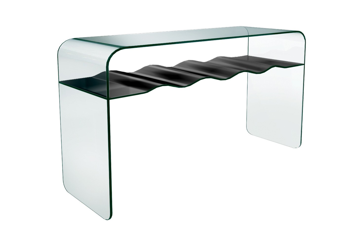 Photo of Greenapple lychee ripple black shelf glass console table