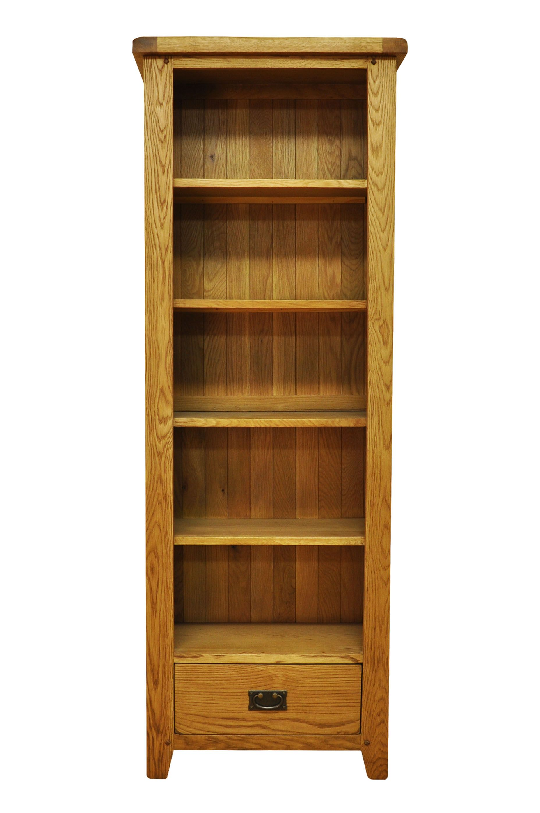 Photo of Stanley oak large narrow bookcase with drawer