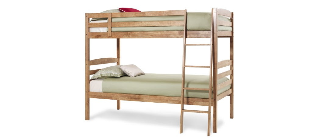 Serene Brooke Hevea 3ft Single Honey Oak Bunk Bed