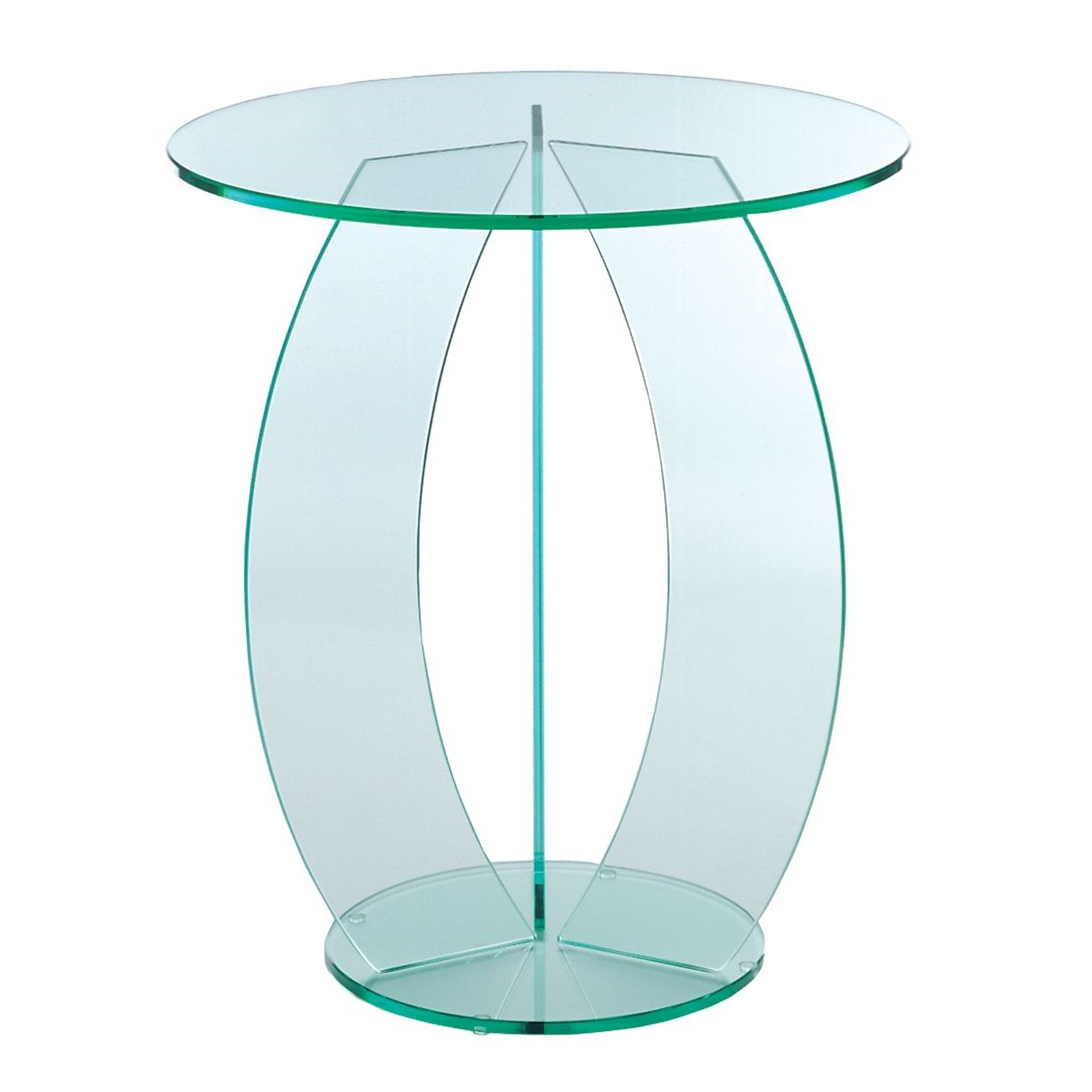 Greenapple Glass Round Lamp Table With C-Shape Base