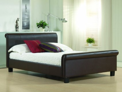 Aurora 4ft Small Double Brown Leather Bed