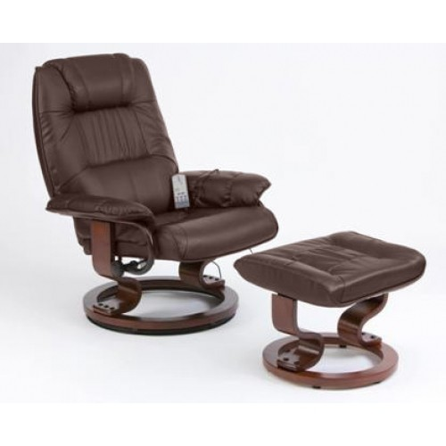 Photo of Restwell napoli brown leather recliner massage chair + footstool