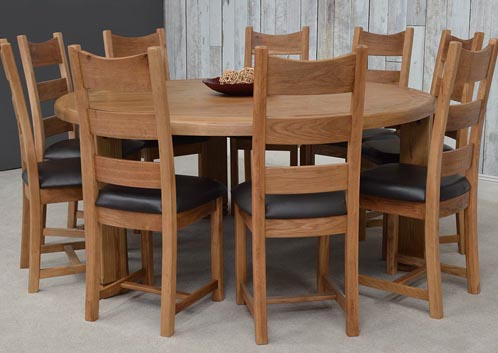Danube Oak Round Dining Table With 6 Danube Chairs