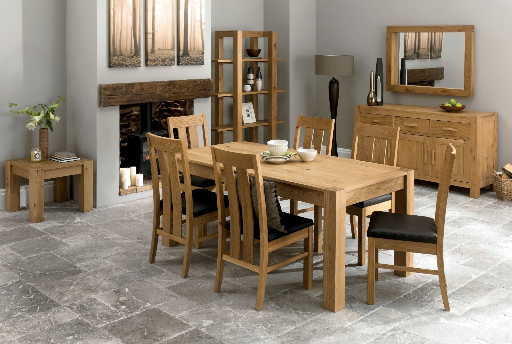 Bentley Designs Lyon Oak 150cm Dining Table & 6 Slatted Back Leather Chairs