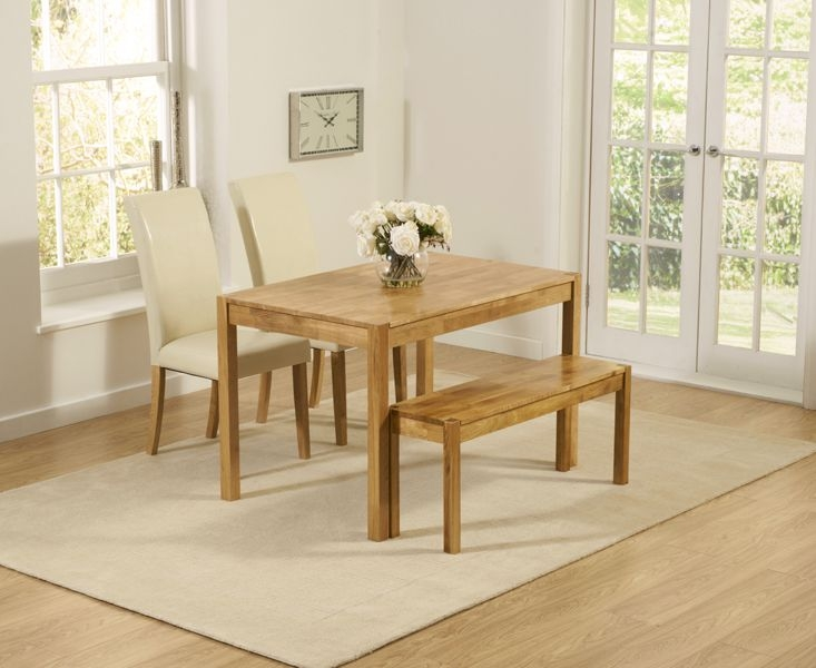 Promo 120cm Solid Oak Dining Table + 2 Atlanta Cream Leather Chairs + Bench
