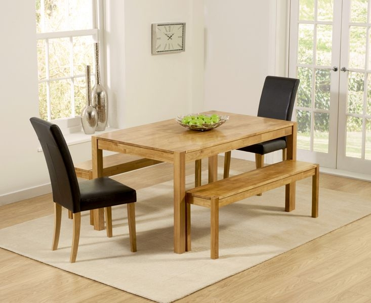 Promo 150cm Solid Oak Dining Table + 2 Atlanta Black Chairs