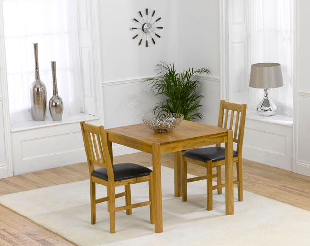 Marbella 80cm Oak Dining Table with 4 Brown PU Chairs