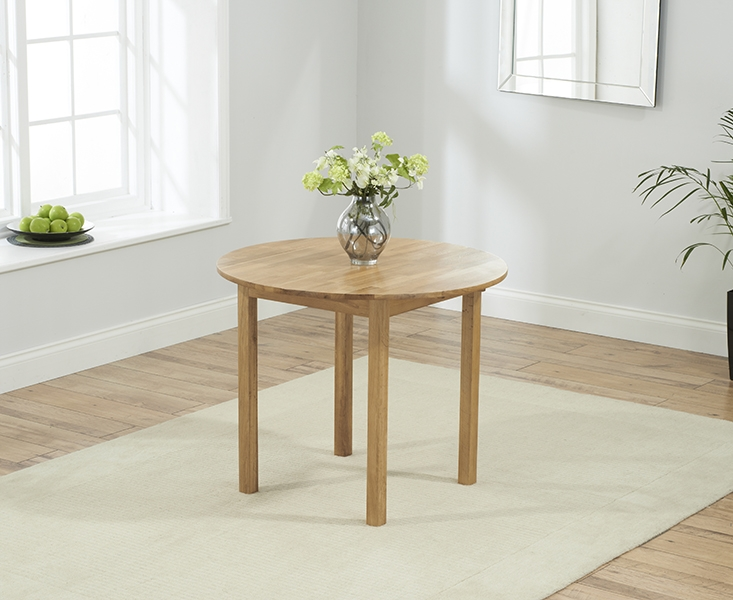 Marbella Round Drop Leaf Ext. Dining Table with 4 Brown PU Chairs