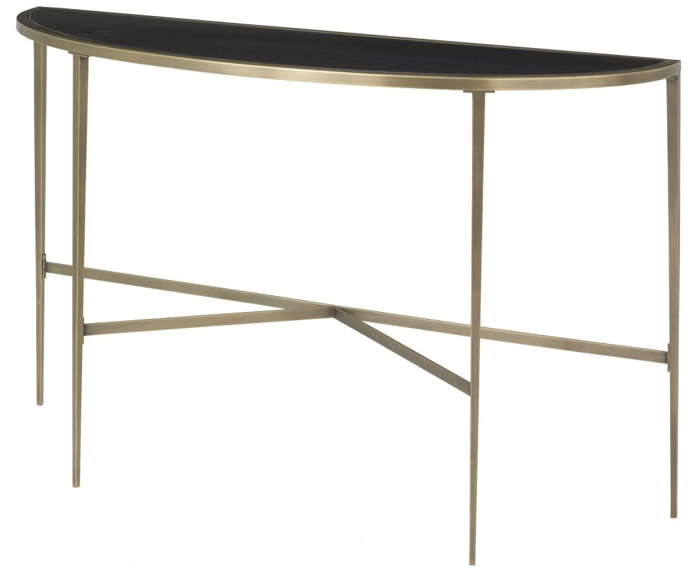 RV Astley Adare Halfmoon Antique Brass Console Table