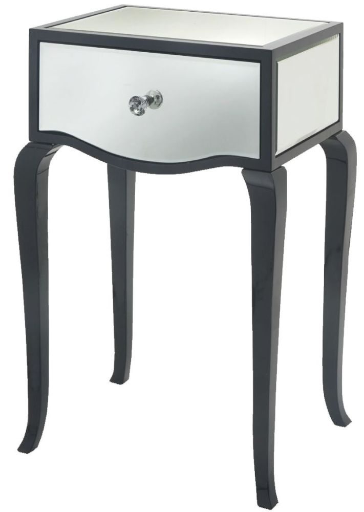 RV Astley Carn Gloss Black And Mirror Side Table