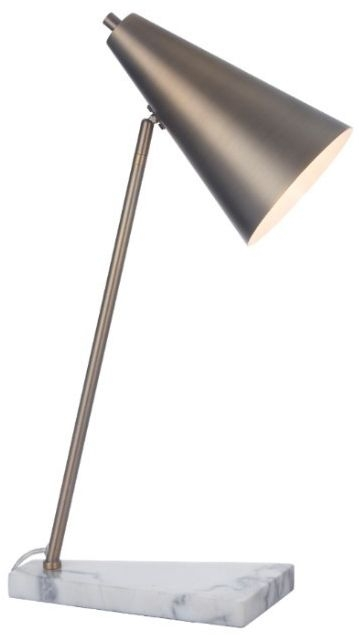 RV Astley Henley Antique Brass And White Marble Base Desk Lamp